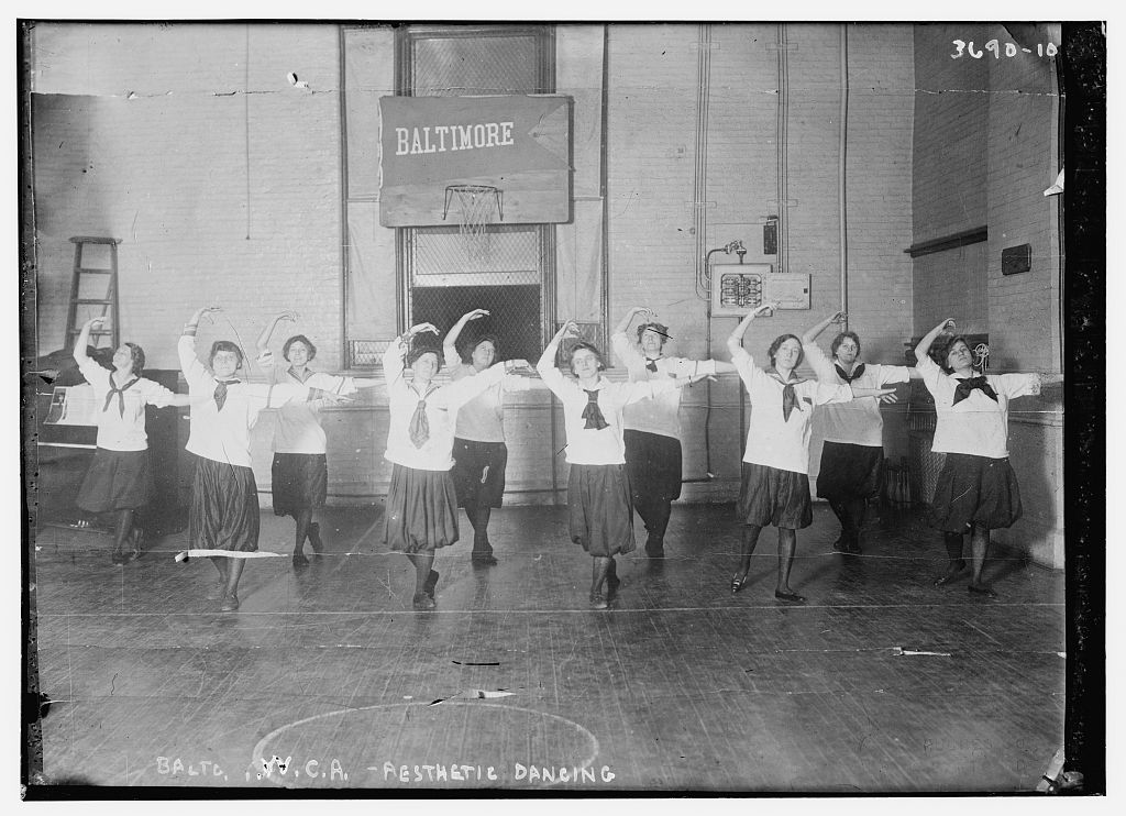 """Aesthetic Dancing -- Baltimore Y.W.C.A."" Undated image from the George Grantham Bain Collection, Library of Congress. http://www.loc.gov/pictures/item/ggb2005020528/"