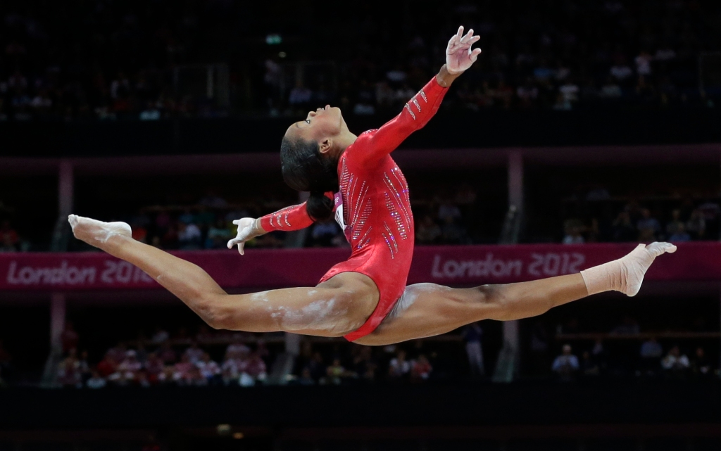 Gabrielle Douglas, London Olympics 2012. AP photo, Julie Jacobson.